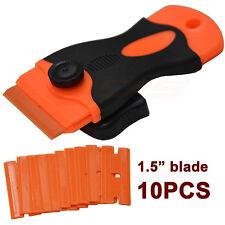 10 Plastic Double Edged Razor Blades and Long Handled Mini Scraper Tint Tools