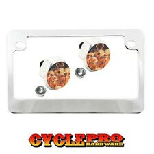 Chrome Metal Motorcycle License Plate Frame Hex Tag Bolt Kit - SKILL PILE FLAME