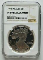1998 P Silver Eagle NGC PF 69 Ultra Cameo