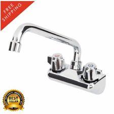 "4"" Centers 10"" Swing Spout Low Lead Wall Mount Kitchen Bar Sink Faucet Chrome"