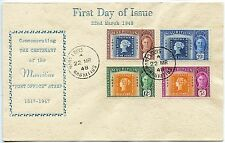 Mauritius 1948 Special printed FDC Centenary POST OFFICE pmk PORT LOUIS cds