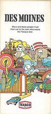 1973 Hippie Art TEXACO OIL Road Map DES MOINES Iowa Ames Urbandale Railroads