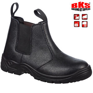 Mens Slip On Steel Toe Cap Safety Dealer Work Boots & Mid Sole Size 3 to 14 UK