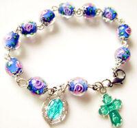 *Nice sapphire blue Veluriyam ROSE BEADS ROSARY bracelet CROSS Catholic Crucifix