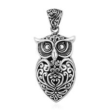 925 Silver Owl Oxidized Tribal Pendant Necklace Valentines Gift for Women 8 G