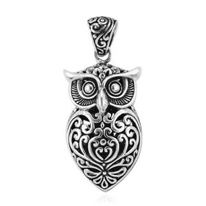 925 Silver Owl Oxidized Tribal Pendant Necklace Jewelry Gift for Women 8 g