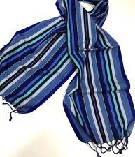 Paul Smith BRIGHT MULTISTRIPE SCARF BLUE 58%SILK 42% COTTON Length 140cm x 27cm