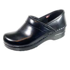 Sanita Professional Black Leather Comfort Nursing Clogs Women's US 5.5 EUR 36