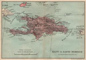 HISPANIOLA. Haiti & Santo Domingo (Dominican Republic) Vintage map 1914