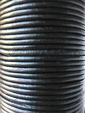 3mm Redondo Piel Auténtica Cordel 2-5m Disponible Cuerda Cordón Varios Colores