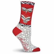 Laurel Burch K.Bell Red Gray Butterfly Dot Ladies Pair Cotton Blend Sock New
