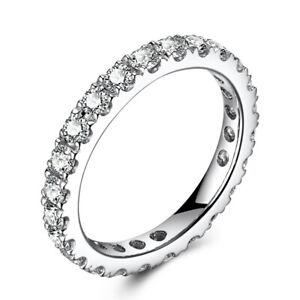Solid 14K White Gold Fashion Fine Jewelry 1.2ct Flawless Moissanite Band Ring