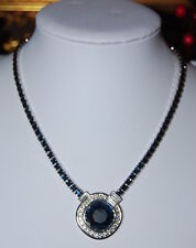 SUPERB OLD RUNWAY YSL YVES SAINT LAURENT BLUE ART DECO STYLE RHINESTONE NECKLACE