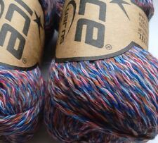 2 x 50 g Fine Merino Yarn. MultiBlues/Red/Copper/White. Knit/Crochet/Weave