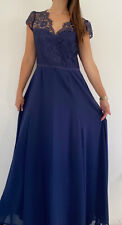 REVIEW Navy Blue Lace Overlay Bodice Formal Maxi Dress Plus Size AU 16 Party