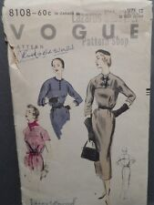 1953 Elegant Slim Fit Vogue #8108 VintageDress Pattern UNCUT FF Size 12