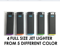 4 Ct Of MK JET BLACK TORCH  Big Full Size Lighters Refillable Windproof Lighter
