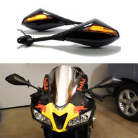 Matte Black Motorcycle LED Turn Signal Integrated Mirrors For Honda CBR600RR US
