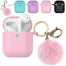 For Apple AirPods 1/2 Silicone Charging Case Cute Cover with Keychain Fur Ball