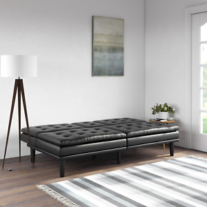 Mainstays Memory Foam Faux Leather Black Pillowtop Futon/Sofa/Bed with Cupholder