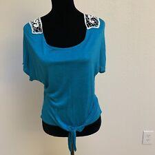 Delia's Women's Top Size S Teal Lace Crochet Back Short Sleeve Tie Front