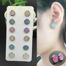 Round Stud Earrings Set Jewelry 6 Pairs Stainless Steel Shiny Crystal