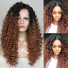 Ombre Blonde Afro Kinky Curly Synthetic Lace Front Wig Long Hair Wigs for Women