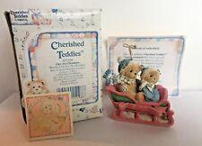 ~Cherished Teddies~Bear in Sleigh Hanging Ornament~Our 1st Christmas~(1994)~Nib~