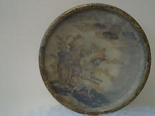 Interesting small Chinese brass pin dish with hand painted artwork under glass