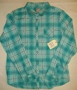 Faded Glory Girls Long Sleeve Flannel Plaid Button Front Shirt MEDIUM (7-8) Blue