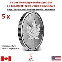 Lot of 5 x 1oz 2019 Canadian Maple Leaf Incuse Silver Coin 🇨🇦