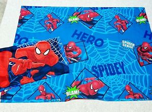Marvel Spiderman Twin Bed Sheet Flat Only & Pillowcase Blue Red Cotton Blend