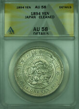 1894 Yen Japan ANACS AU 58 Details Cleaned Lustrous 1 Yen Silver Coin Y#A25.3