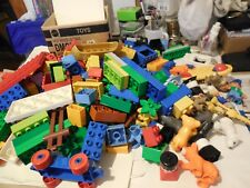LEGO DUPLO MIXED LOT OF 220 PARTS AND PIECES PEOPLE ANIMALS TRAIN CARS BRICK 7LB