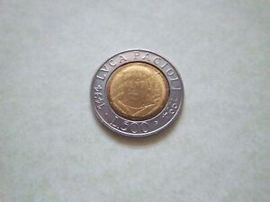 1994 COMMEMORATIVE COIN OF ITALY[#590]  LVCA PACIOLI ISSUE GOOD COLLECTABLE