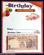10 RUPEES BIRTHDAY NOTE  (DATE IN SERIAL NUMBER) 1 UNC ORIGINAL NOTE FOR SALE