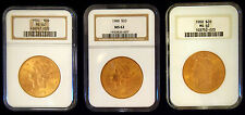 SET OF 3 NGC CIRCA 1900 MS62 US $20.00 GOLD COIN PRICE IS FOR 1 COIN ONLY