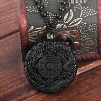 Natural Obsidian Hand Carved Chinese Taiji-Bagua Lucky Amulet Pendant Necklace