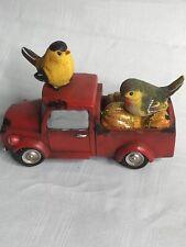 """Little Red Truck Glitter Bird Fall Figurine  7""""Lx 3""""W x 5""""H NIB"""