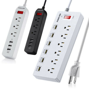 Poweradd 3 / 6 Outlets Power Strip 3/6 Smart USB Charging Ports Surge Protector