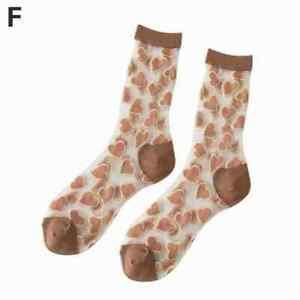 Women Glass Nylon Sheer Mesh Ankle Socks Love Heart Hosiery Thin Colorful N8T5