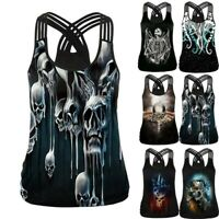 Women Sleeveless V Neck Vest Bandage 3D Printed Blouse Tank Tops Camis T-Shirt