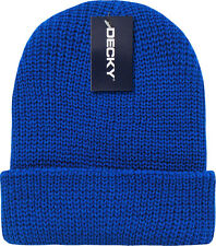 Royal Blue Ribbed Watch Cap Beanie Knit Winter Hat  Stretch Snowmobile Ski Decky