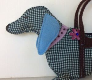 Gap Kids Girls Handbag Purse Dachshund Brown Blue Check Dog Puppie