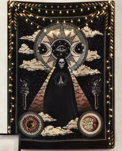 "NEW 60"" x 40"" Grim Reaper Skeleton Death Tarot Card Black Tapestry Wall Decor"