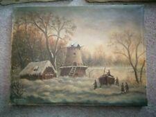 Uraltes Bild Winterlandschaft ölbild antik