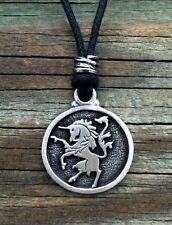 Unicorn Pewter Pendant with adjustable black cord