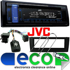 FIAT GRANDE PUNTO JVC STEREO AUTO CD MP3 USB & VOLANTE Interfaccia Kit Nero
