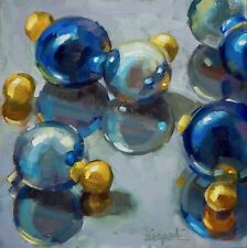 Christmas Ornament Original stilllife oil daily painting allaprima 8x8 by Dipali