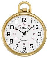 Gotham Men's Gold-Tone Thin Railroad Open Face Quartz Pocket Watch # GWC15026G